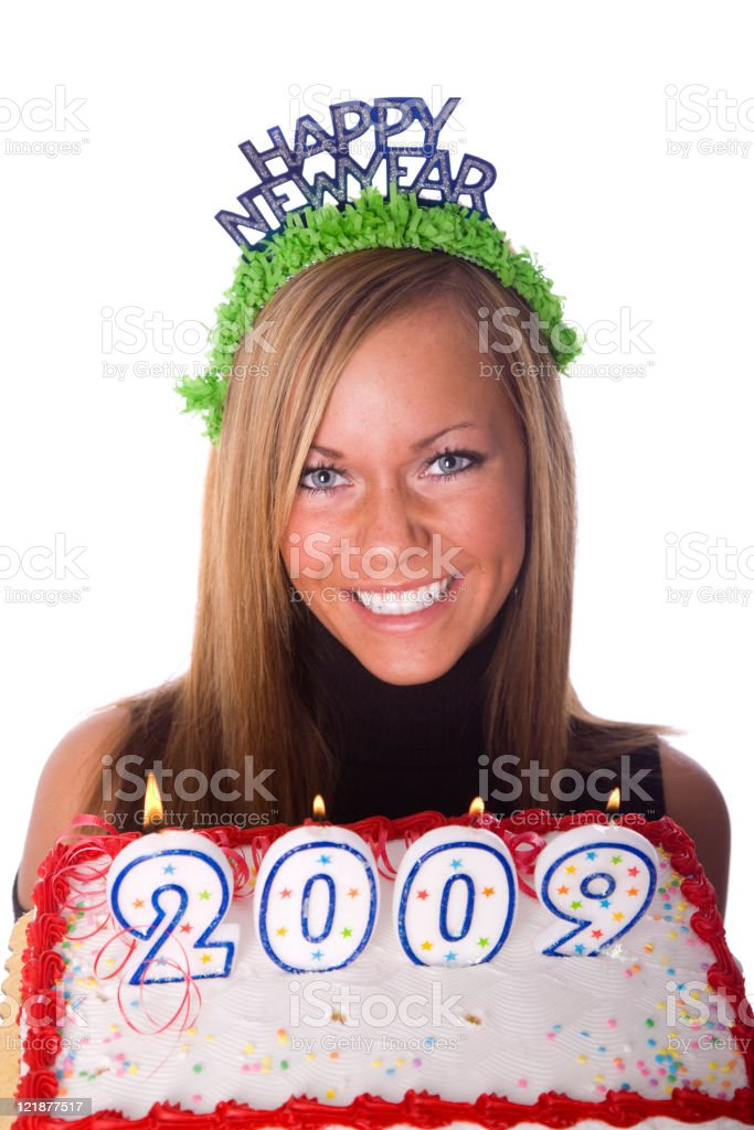 Young Woman Celebrating New Year's Eve royalty-free stock photo