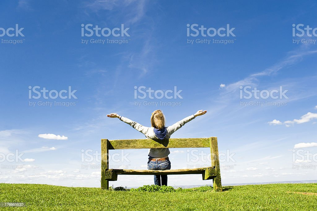 Young Woman Celebrating or Worshiping God royalty-free stock photo