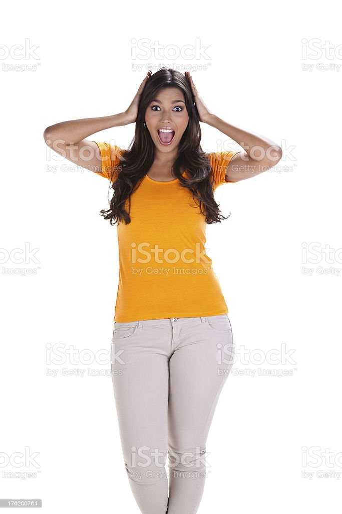 Young Woman Celebrating royalty-free stock photo