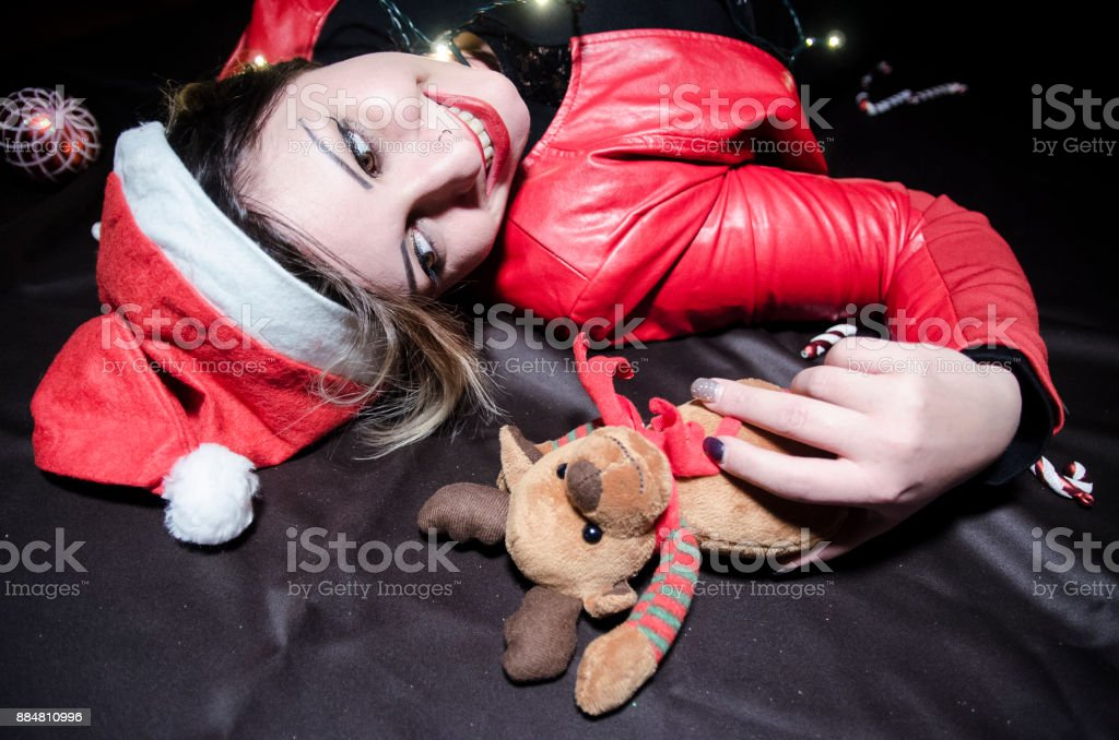 Young woman cheering for christmas stock photo