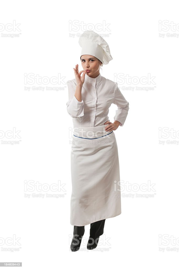 Young woman chef, isolated on white stock photo