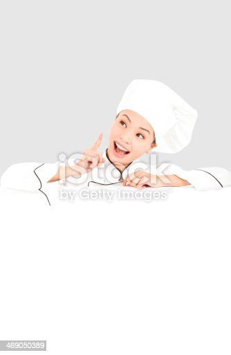 istock young woman chef thinking  with blank board 469050389