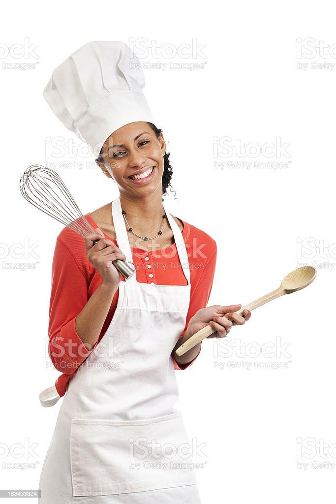 Giovane Donna Indossare Un Grembiule Dello Chef Con Utensili Da ... addf706d5f3b