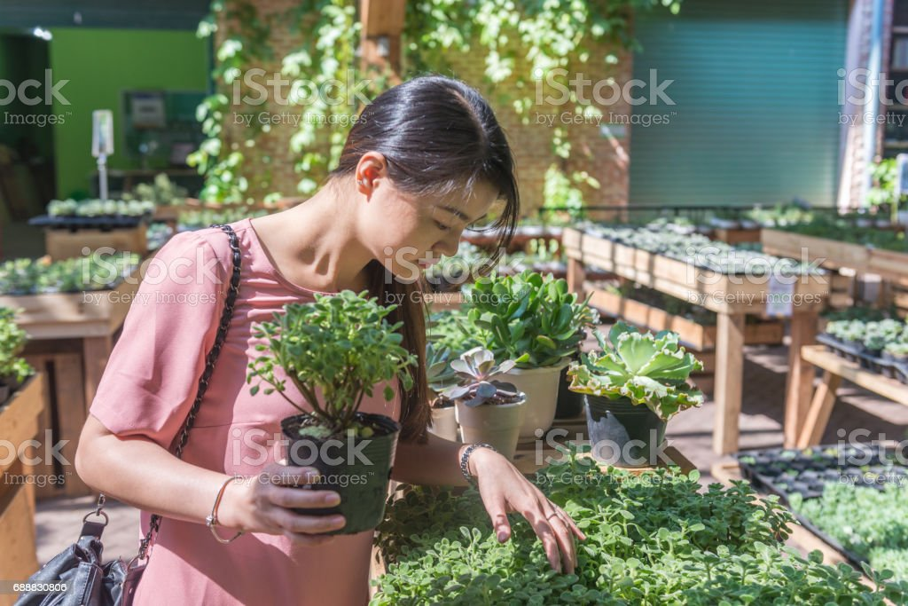 Young woman chosing new plants in the garden for her house stock photo