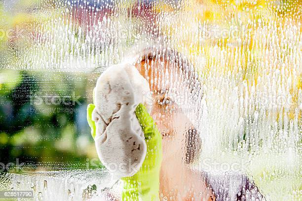 Young woman cleaning windows on a clear sunny day.