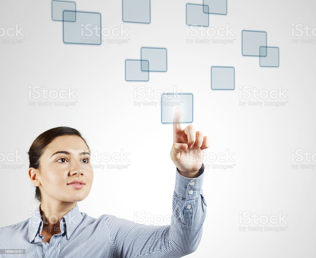 Young Woman Clicking Digital Squares royalty-free stock photo