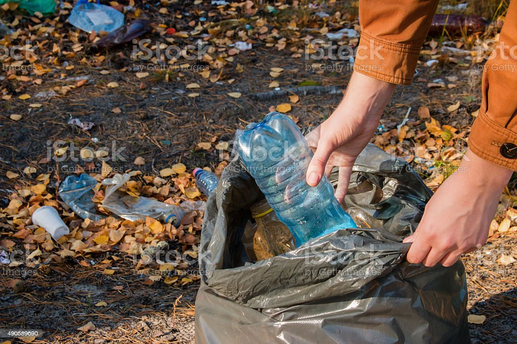young woman collects garbage in the woods stock photo