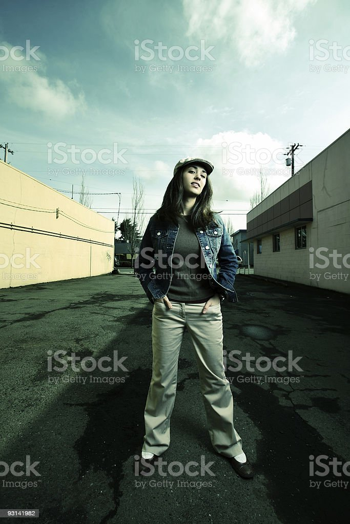 Young Woman Comfortable Under Sky. royalty-free stock photo
