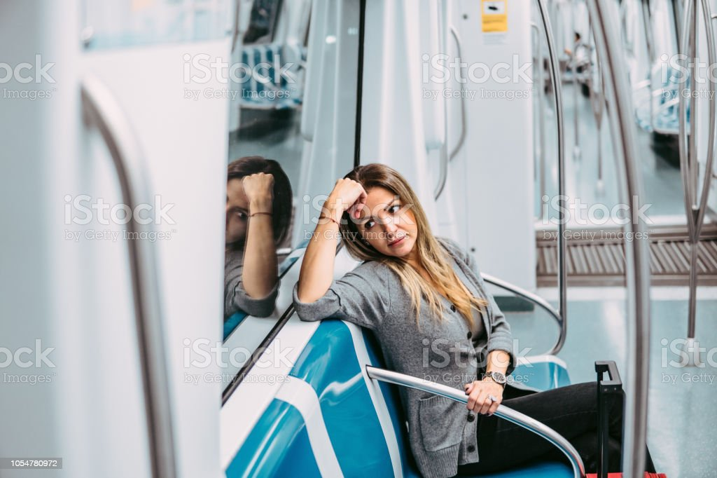 Young woman commuting stock photo