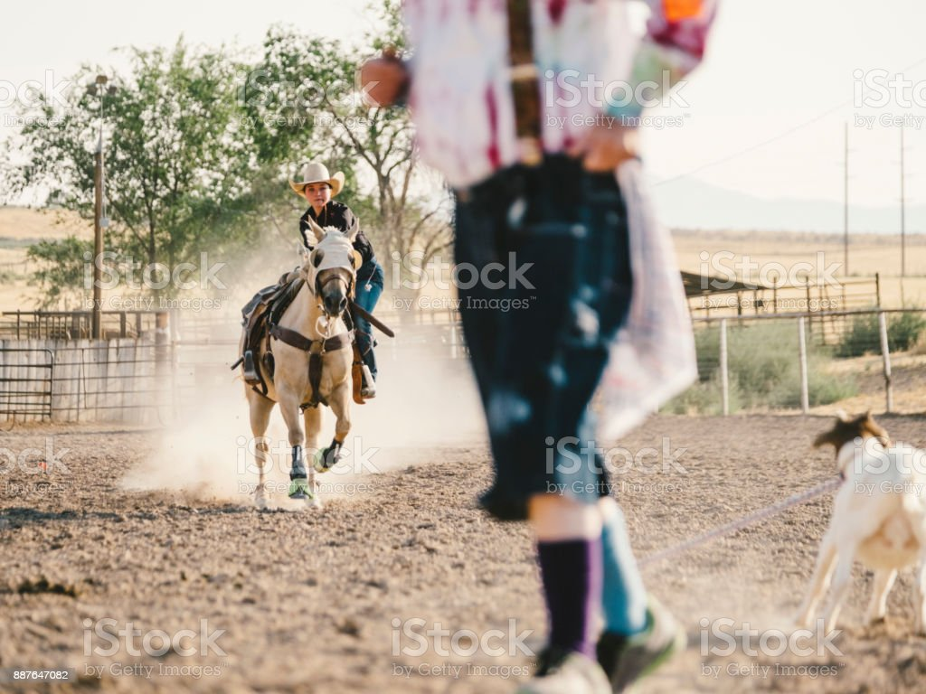 Young Woman Competing in Rodeo Goat Roping stock photo