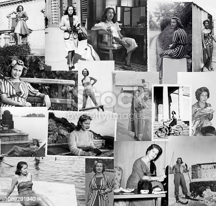 Young woman Composition of black and white photos from 1932 to 1950