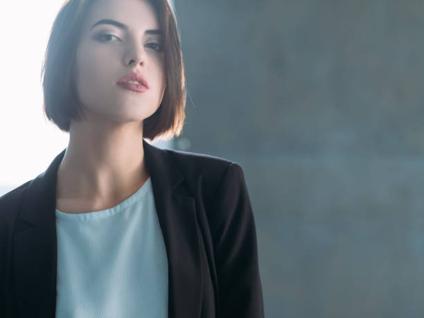 young woman confident business lady look Attractive young woman. Arrogant beauty. Confident business lady. Superior and inquisitive look. arrogant stock pictures, royalty-free photos & images