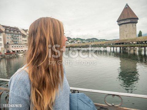 Lucerne city and bridge, Switzerland.