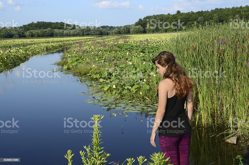 Young Woman Contemplating in Nature royalty-free stock photo