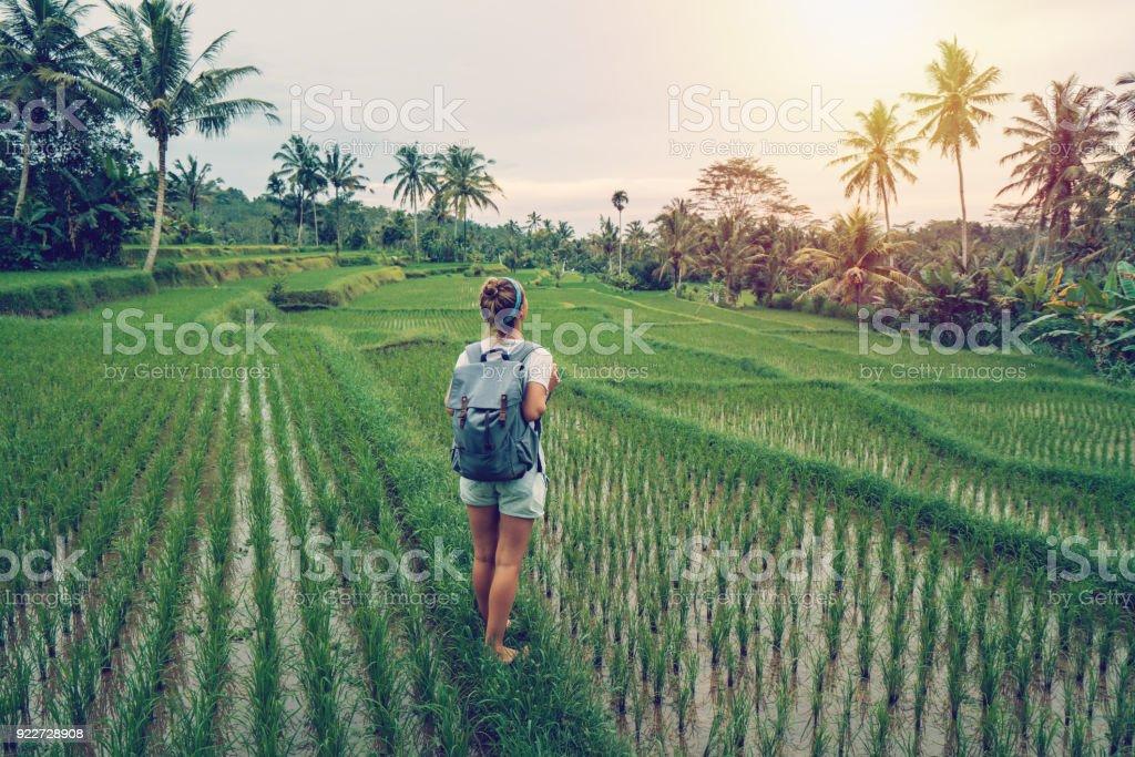 Junge Frau Betrachtung Reis Terrasse, Ubud - Bali – Foto