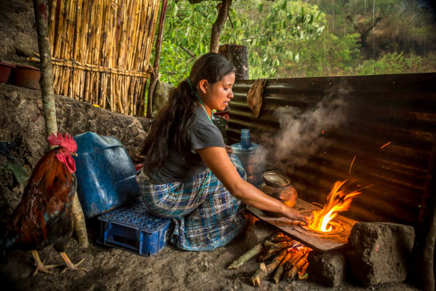 Young woman cooking over fire in front of her house. stock photo