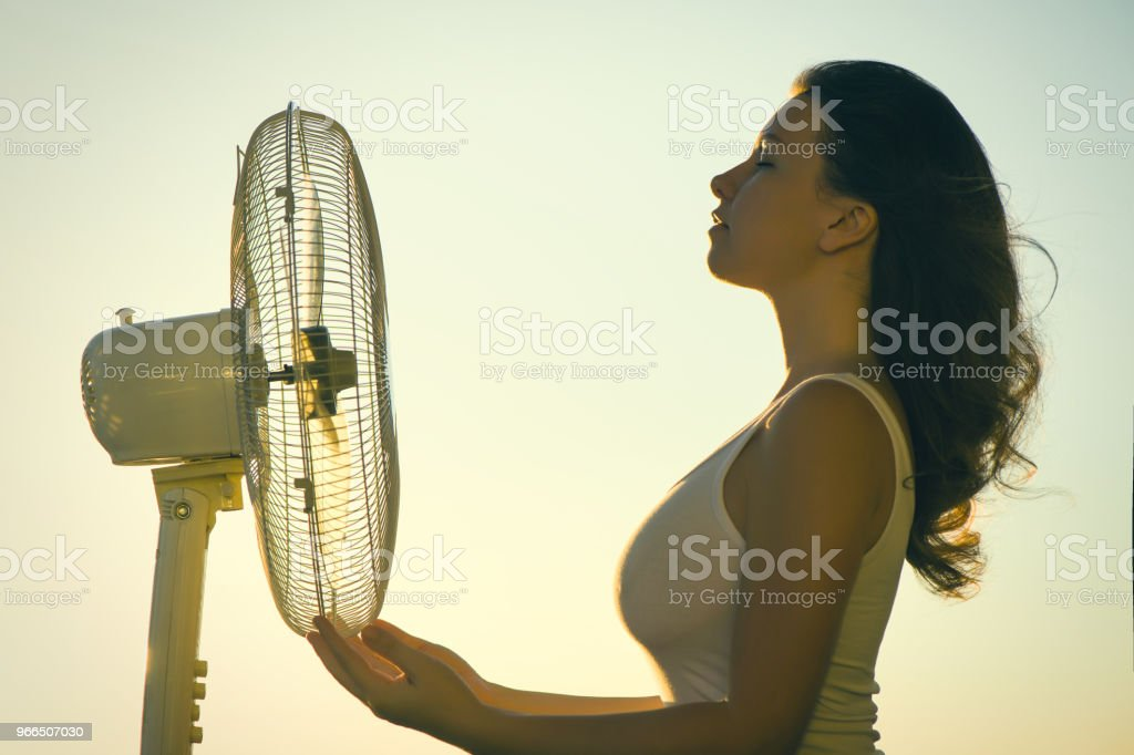 Young Woman Cooling Herself During Hot Weather In Front Of Fan On A