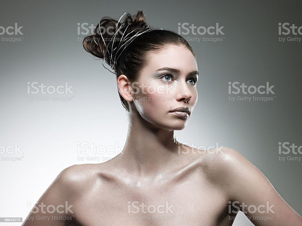 Young woman covered with silver make up 免版稅 stock photo