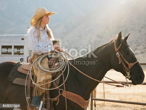 Young Woman Cowgirl With Her Horse Stock Photo & More Pictures of Adult