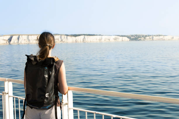 young woman crossing english channel by ferry - english channel stock pictures, royalty-free photos & images