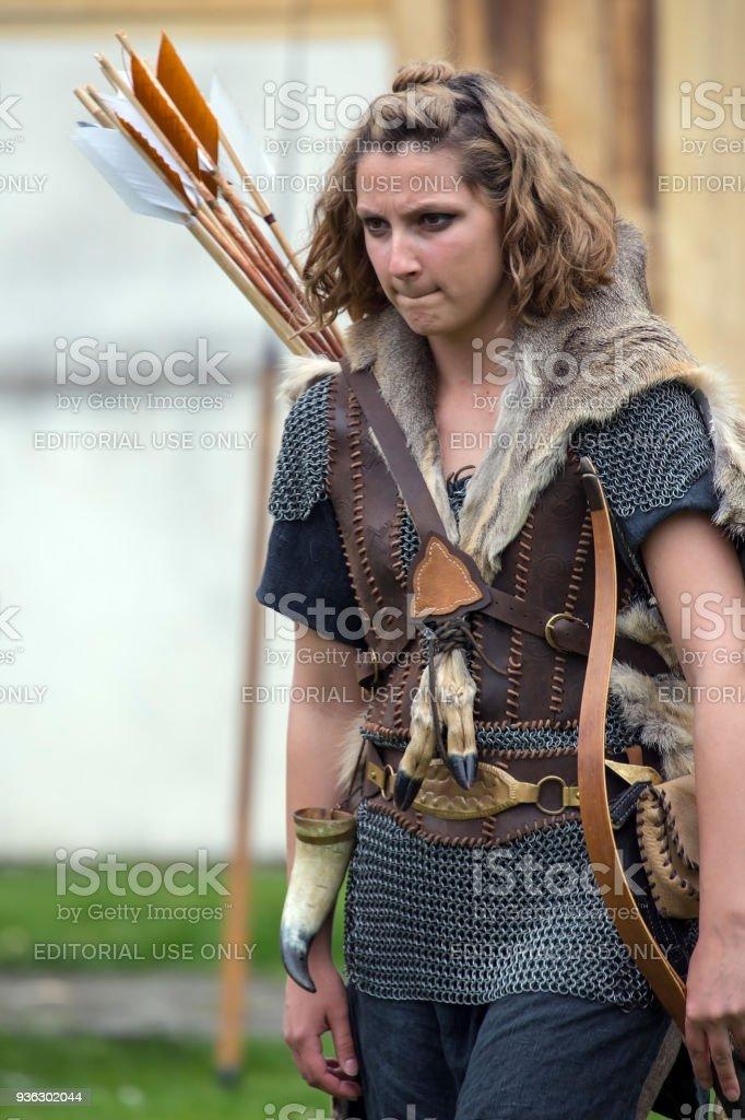 Young woman dacian archer stock photo