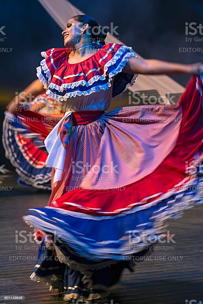 Young woman dancer from Costa Rica in traditional costume stock photo