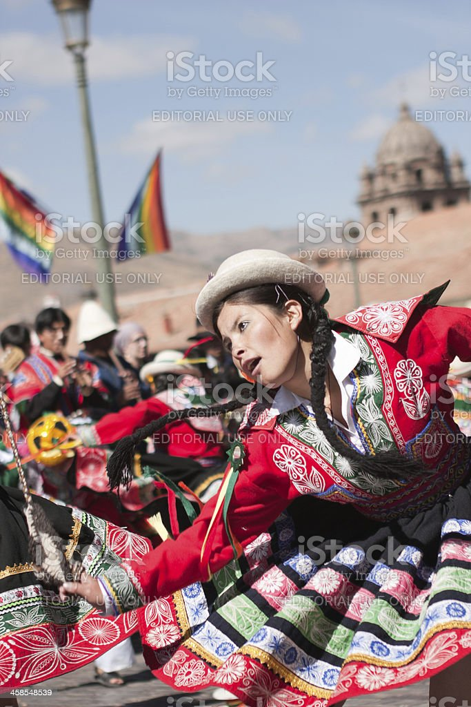 Young Woman Dancing during Cusco Parade stock photo