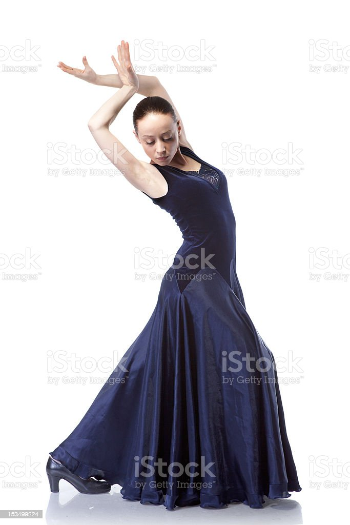 young woman dancing flamenco isolated on white royalty-free stock photo