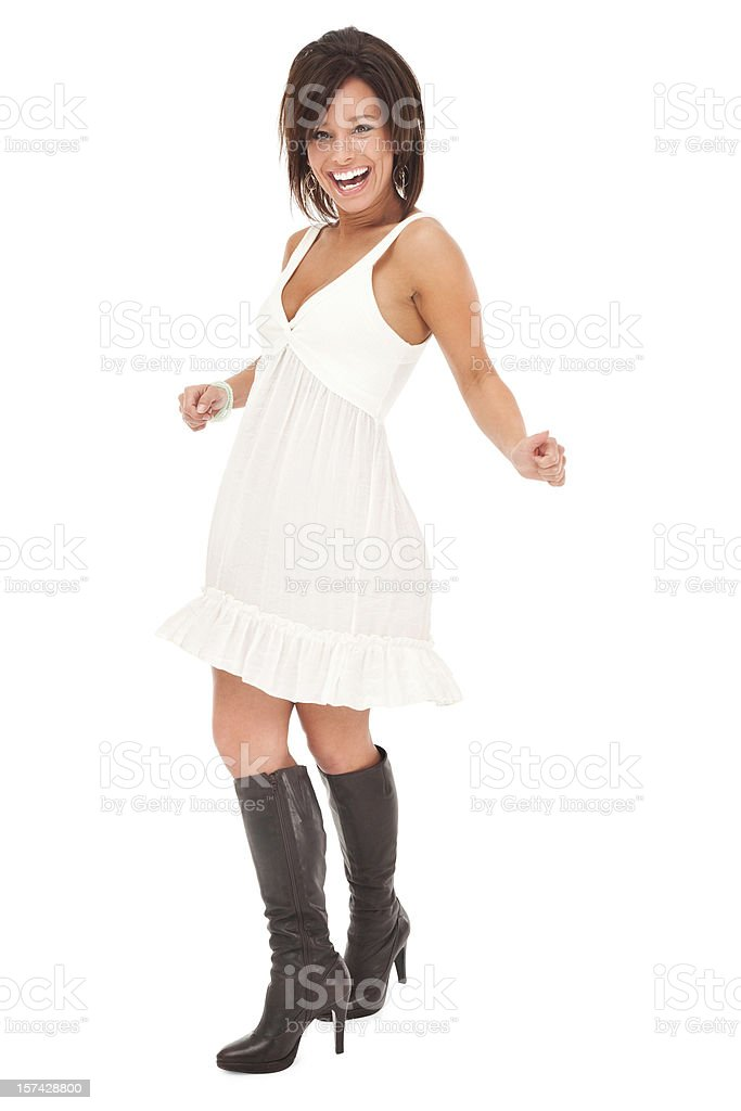 Young Woman Dancing Happily royalty-free stock photo