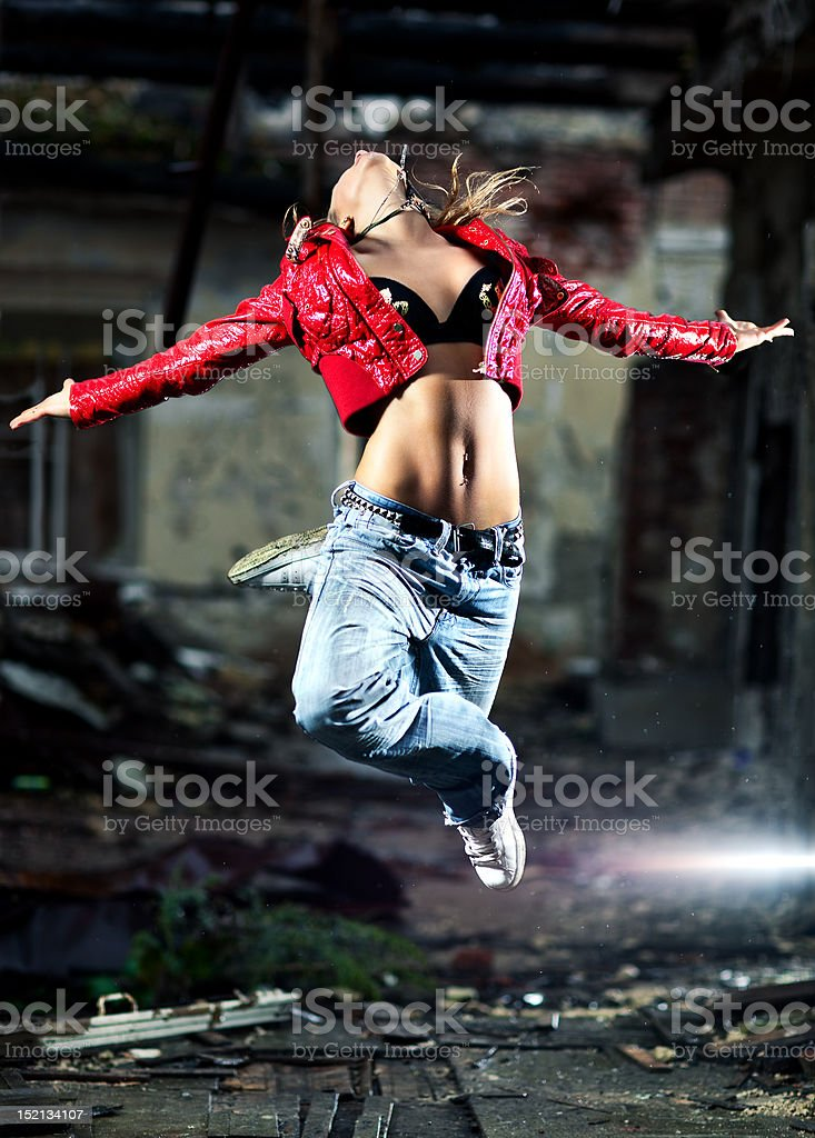Young woman dancing royalty-free stock photo