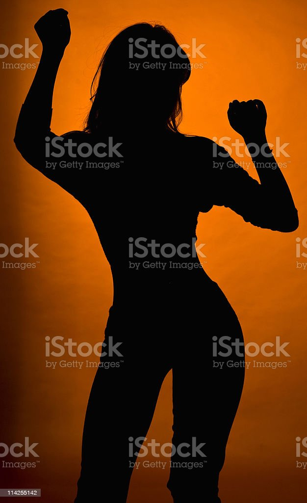 young woman dancing silhouette royalty-free stock photo