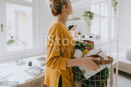 Photo of a woman decorating her home