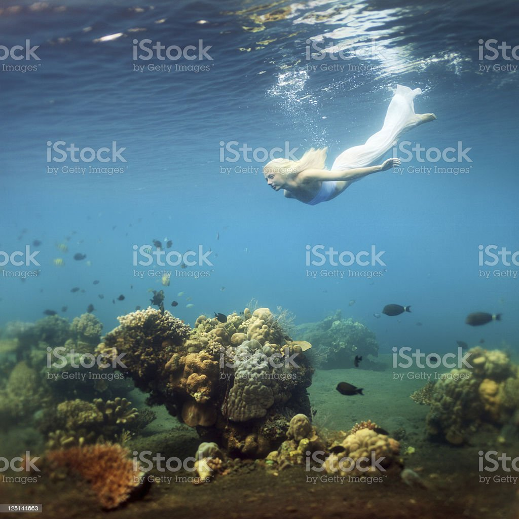Young woman dive into deep water royalty-free stock photo