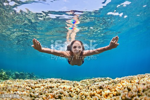 istock Young woman dive underwater over coral reef in sea 510081928