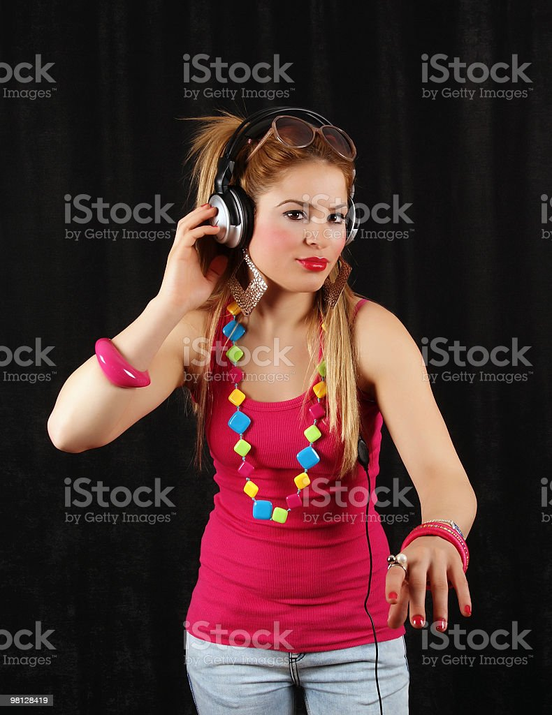 young woman DJ royalty-free stock photo