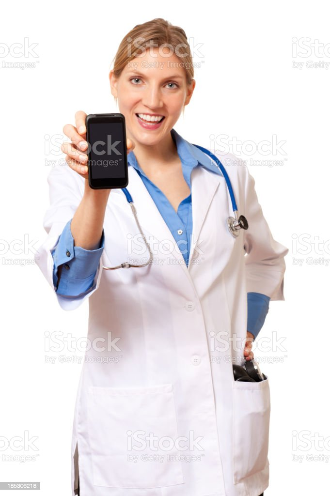 Young Woman Doctor Nurse with Smartphone Isolated on White Background royalty-free stock photo