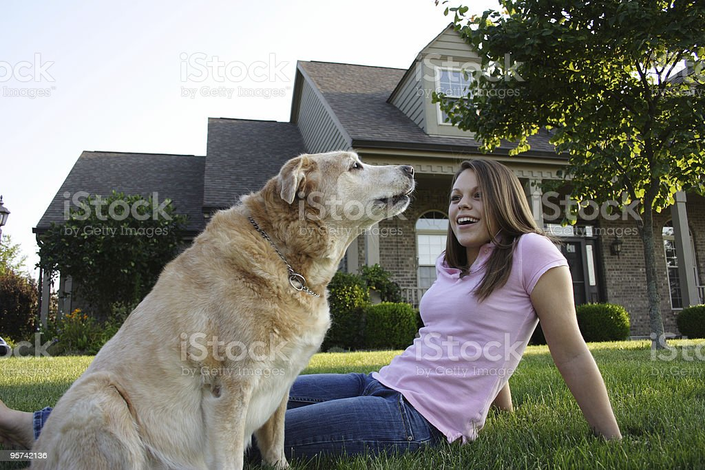 Young Woman & Dog royalty-free stock photo
