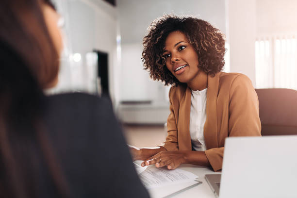 Young woman doing a job interview stock photo