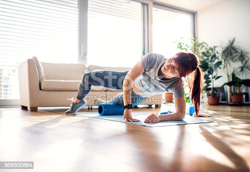 Beautiful young woman doing exercise at home.