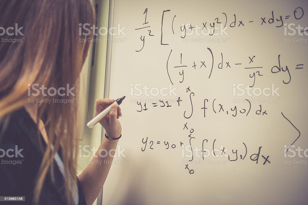 Young Woman Doing Math at Secondary School, University, Istanbul, Turkey stock photo