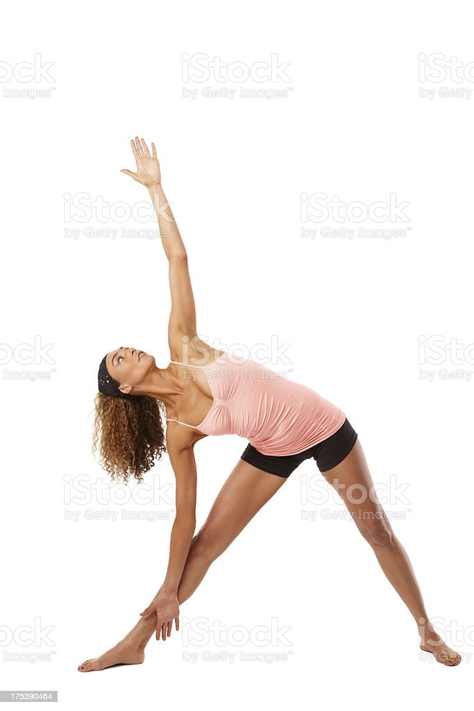 Young woman doing stretching exercise royalty-free stock photo
