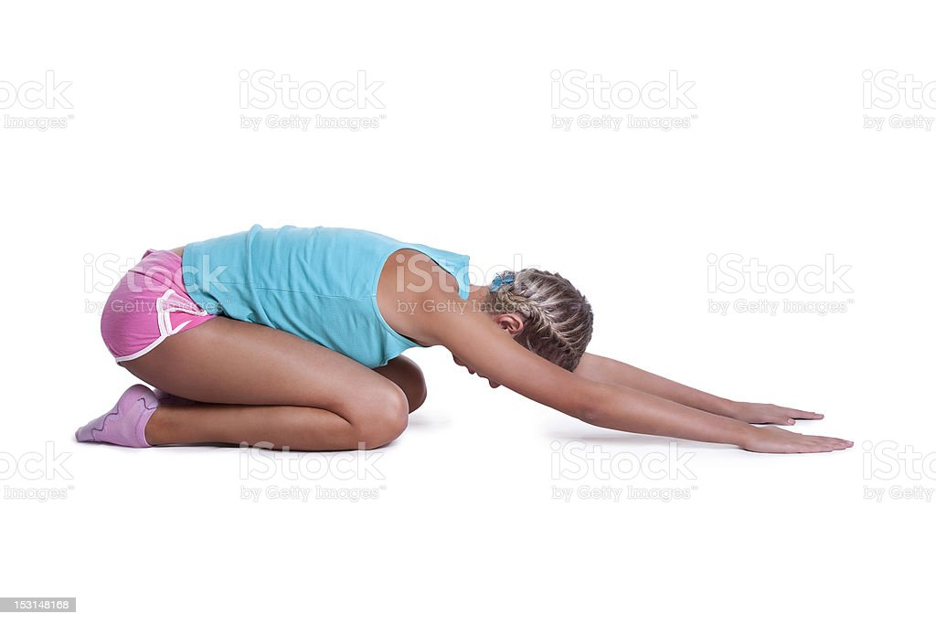 Young woman doing stretching exercises royalty-free stock photo