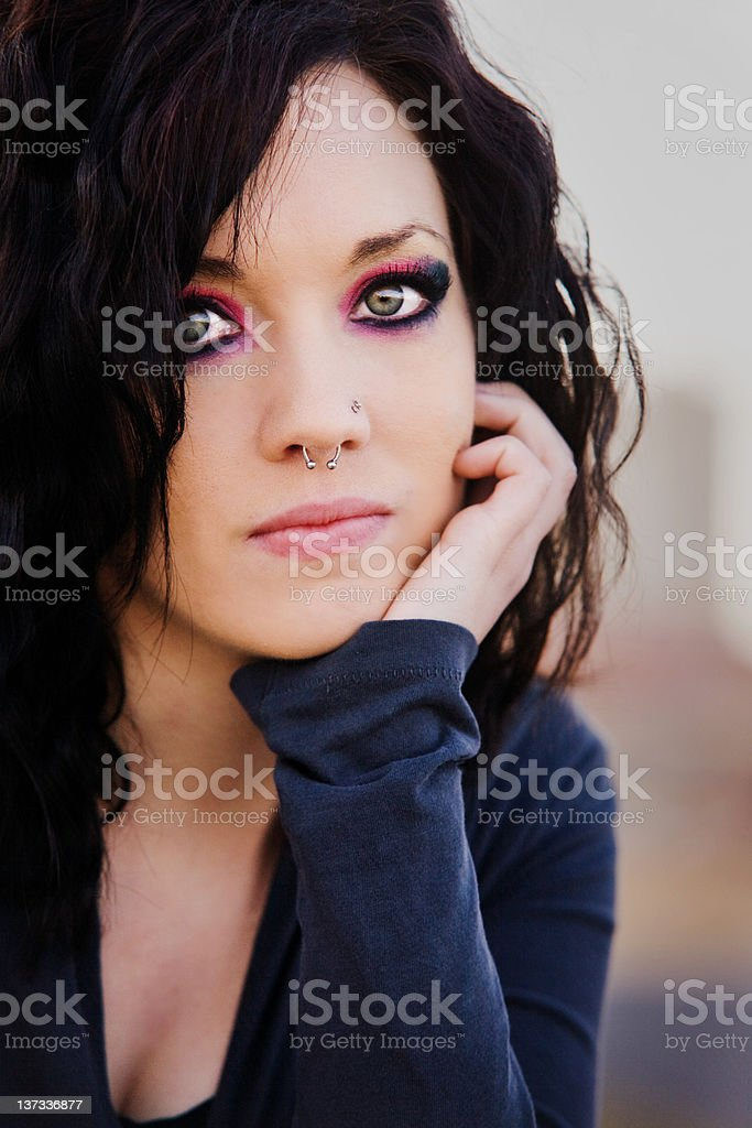 Young Woman Dramatic Eyes And Nose Piercing Stock Photo Download