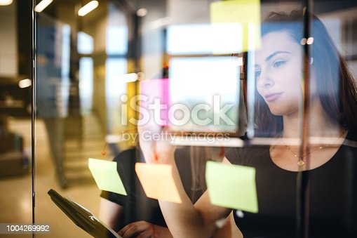Young woman drawing mind map to resolve business problem