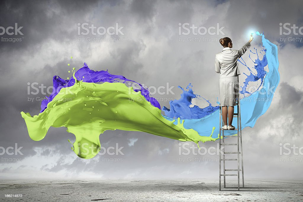 Young woman drawing splashes royalty-free stock photo