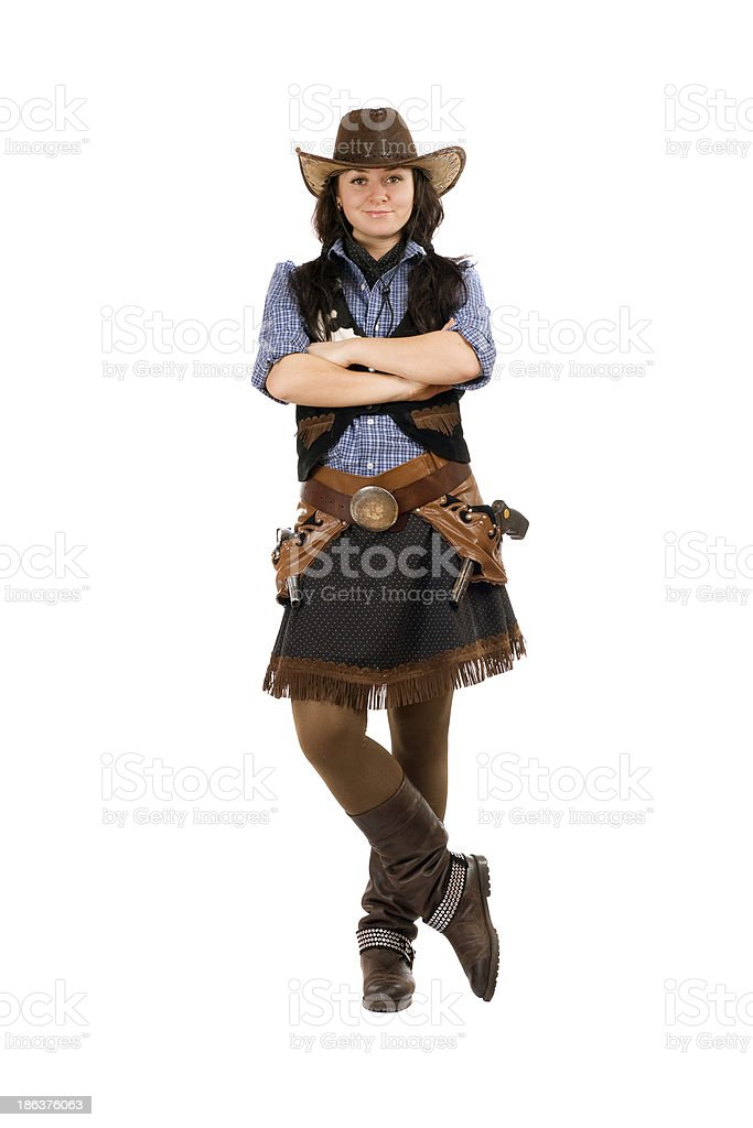 Young woman dressed as a cowboy royalty-free stock photo