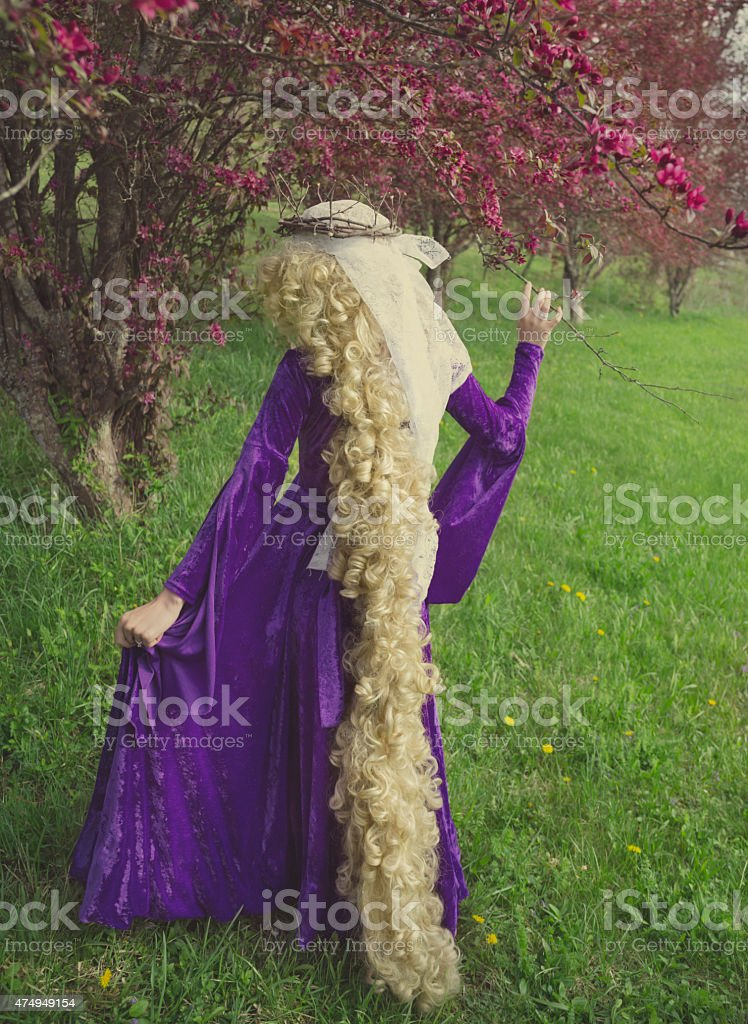 Young woman dressed as the fairy tale character Rapunzel. stock photo