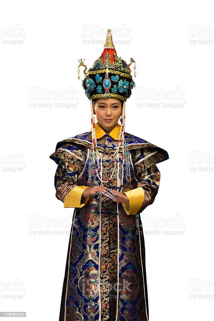 9b2994b698bc Giovane donna vestito in costumi tradizionali cinesi foto stock royalty-free