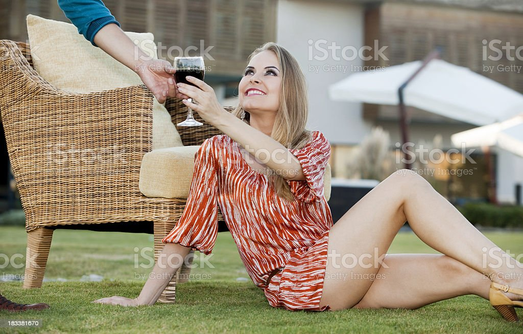 Young woman drinking wine royalty-free stock photo