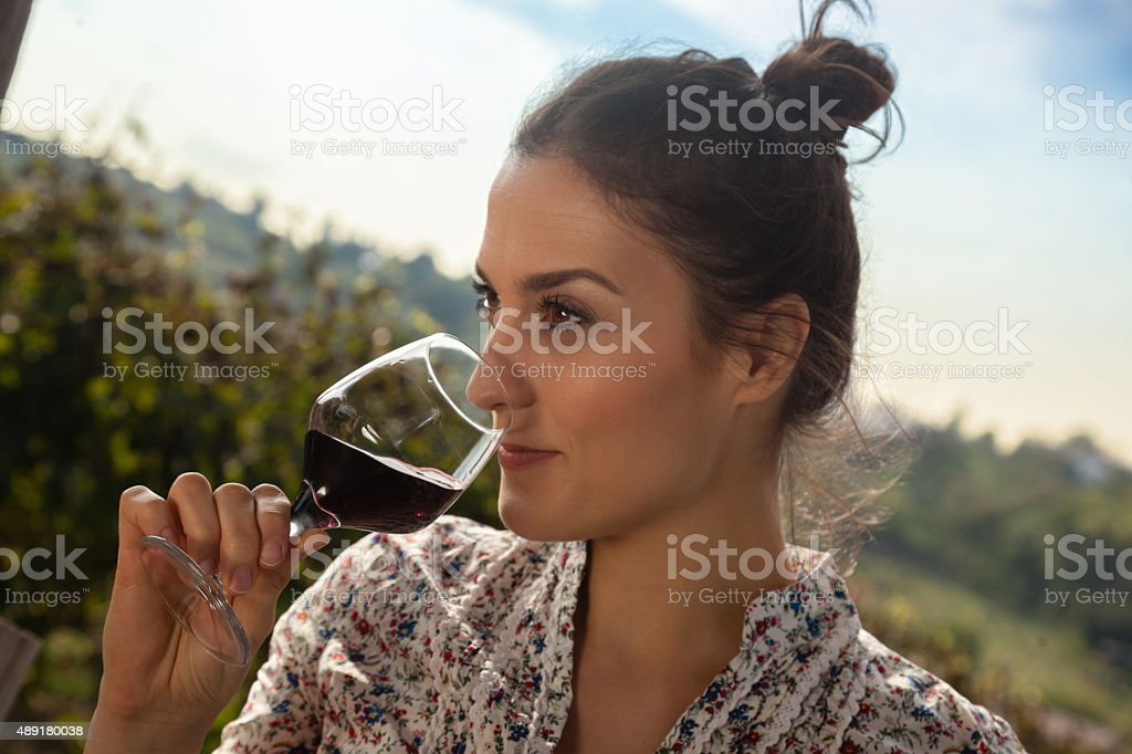 Young Woman Drinking Wine stock photo